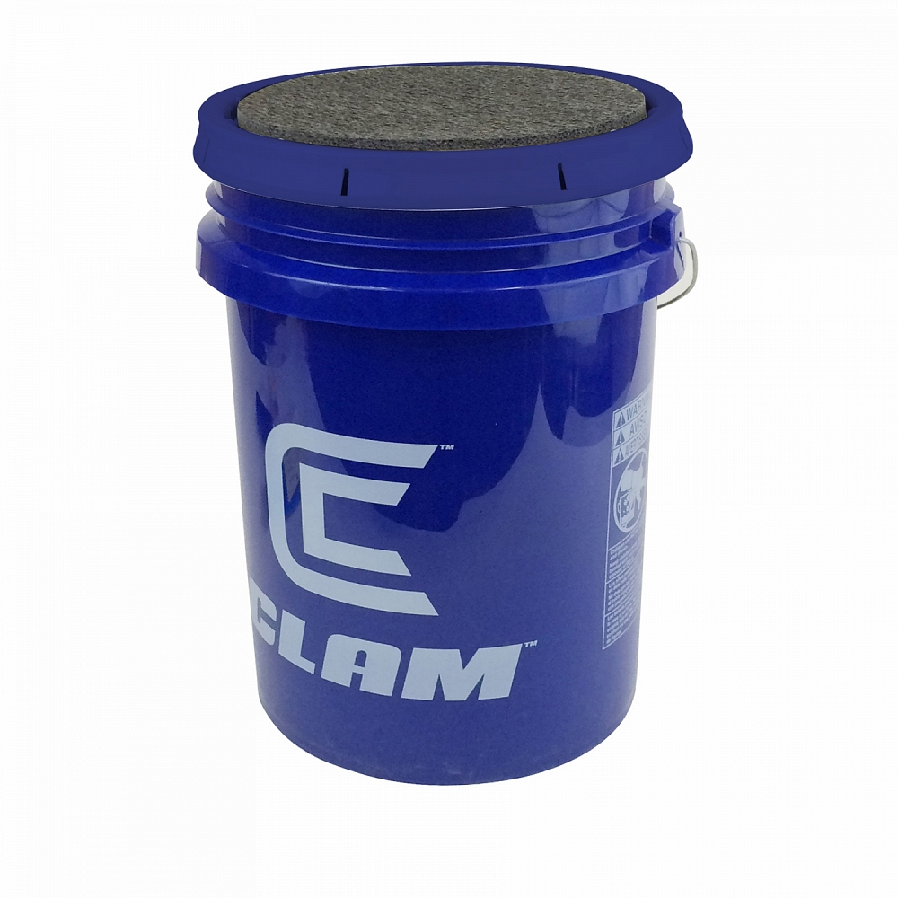Clam 6 gallon bucket w lid sportsmen 39 s direct for Ice fishing bucket